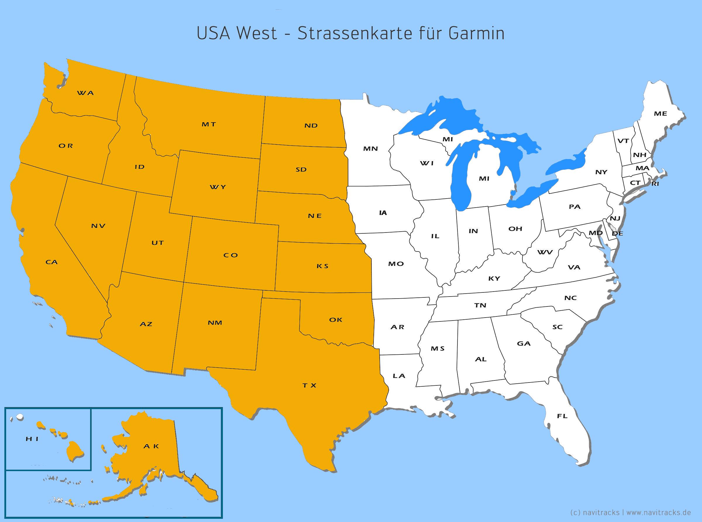 USA West - Kartenabdeckung